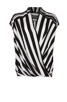 bluzka zapinana na kopertę marki #MANGO #Labelsshop #pasy #stripes