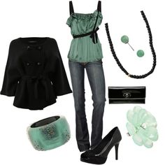 teal and black. reminds me of mint chocolate chip ice cream =)
