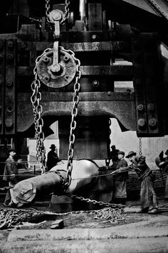 """Forging Press Was considered a technical wonder of the world, designed by Alfred Krupp """"Fritz"""" photograph from 1861."""