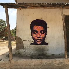 #streetart by #SebastienBouchard #painting / spray & acrylic on paper - Tanji, Gambia april 2018 http://sebastienbouchard.com/art/street/05.html