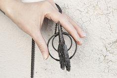 Black broom amulet-black kyanite necklace-dark by BelladonnanoirJP