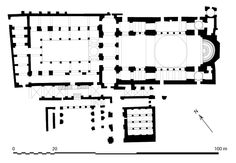 BYZANTINE ARCHITECTURE - Plan of Hagia Irene, begun Istanbul. Irene was one of the first examples of transition basilica plan with a Greek cross. Byzantine Architecture, Romanesque Architecture, Religious Architecture, Classical Architecture, Hagia Irene, Ottonian, Constantine The Great, Carolingian, Saints