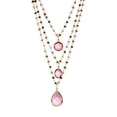 Elyssa Bass Triple layer necklace, Rainbow Tourmaline and Pink Quartz Three strands of hand beaded Rainbow Tourmaline with Quartz center stones. Short...