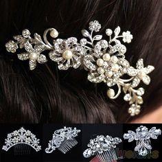 cheap rhinestone hair clips | braut hochzeit blume strass kristall perlen frauen haarspange kamm ...