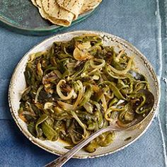 Roasted Poblano Chiles with Onion (Rajas) - so good on quesadillas, tacos and with steak.