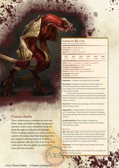 A predatory creature from beneath the earth whos favored prey is humanoids. Homebrewed for Dungeons and Dragons Edition. Artist is tagged at the bottom of the page. Homebrewing is done by me. Dungeons And Dragons Classes, Dungeons And Dragons Characters, Dungeons And Dragons Homebrew, Monster Concept Art, Fantasy Monster, Monster Art, Mythical Creatures Art, Mythological Creatures, Fantasy Creatures
