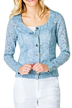This pretty lace floral short jacket is lightweight and has some stretch. It looks great over white, grey and other colors. It measures 22 inches in length. Accent with pearl jewelry and you will love the look. This jacket travels incredibly well in a suitcase! Yest Sizing: XS-4, S-6. M-8, L-10   Lace Floral Jacket by Yest. Clothing - Jackets, Coats & Blazers - Jackets Illinois