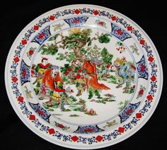 ANTIQUE BIG CHINESE PORCELAIN CHARGER 45 cm, HAND PAINTED GUANGXU MARK, NR