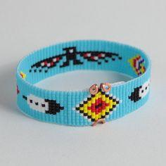 Thunderbird bead loom bracelet boho bohemian tribal for Thunderbird jewelry albuquerque new mexico
