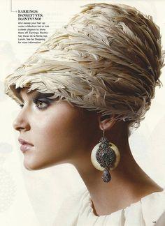 oscar de la renta feather hat