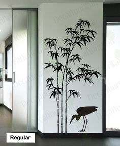 Tree Wall Decal Bamboo Large Tree Sticker Bird Decals Japanese Wall Art Stickers Home Decor Wall Art Living room Bedroom Office Kitchen - Home Decoration Ideas Office Wall Decals, Kitchen Wall Decals, Wall Painting Decor, Home Decor Wall Art, Bamboo Wall, Bamboo Tree, Removable Vinyl Wall Decals, Wall Stickers, Vinyl Wall Art