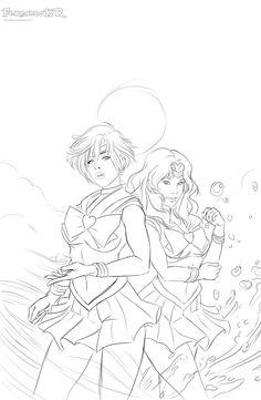 Sailor Uranus and Neptune (sketch) by killbiro.deviantart.com on @DeviantArt