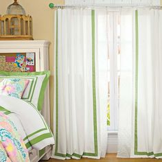 Good example of ribbon-trimmed curtain panels. (Suite Ribbon Drape | PBteen)
