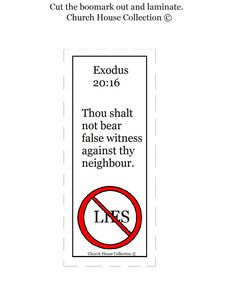 Thou Shalt Not Bear False Witness Against Thy Neighbor Bookmark Printable. Free Ten Commandments Craft Ideas.