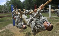 Military Obstacle Course | Army soldiers in basic training are run through an obstacle course as ...