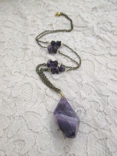 No Tears Amethyst Beaded Necklace, Long Necklace with Amethyst Beads and Brass…