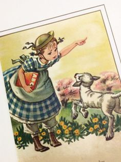 Childrens Wall Art Vintage Nursery Rhyme Ilration Mary Had A Little Lamb Golden Book 2 Piece Set
