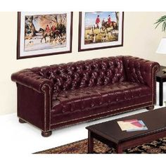 Chesterfield Traditional Leather Reception Room Sofa Black Leather/Mahogany Frame
