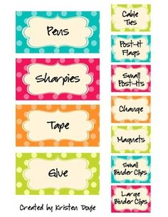 Labels- editable! - I've pinned things like this with the polka dots, but I love this one!  It's simple and doesn't look too overbearing on the baskets!