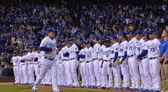 Kansas City Royals manager Ned Yost takes the field during introductions before Tuesday's ALCS playoff baseball game on October 14, 2014 at Kauffman Stadium in Kansas City, MO.