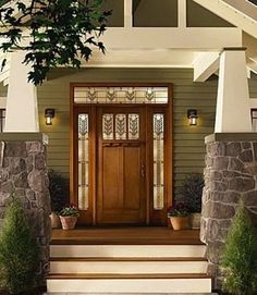 It looks like wood, but it's not. This Craftsman-style fiberglass door with decorative glass and sidelites looks as warm as solid wood but offers better durability and insulation value.