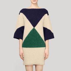 Stella McCartney - Shapes wool and alpaca-blend sweater dress Knitwear Fashion, Knit Fashion, Fashion Looks, Moda Crochet, Moda Chic, Boat Neck Dress, Poncho, Stella Mccartney, Autumn Fashion