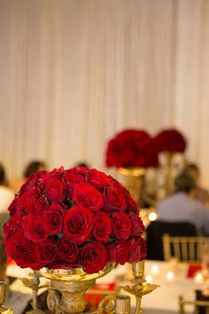 Our Centerpieces Red Roses In An Antique Candelabra Beige Champagne Wedding