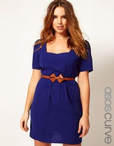 Naturally, they only have sizes bigger and smaller than mine.    (ASOS CURVE Belted Tulip Dress With Sweetheart Neckline)