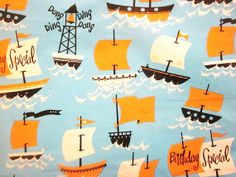 Vintage Wrapping Paper  Nautical Birthday
