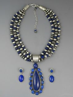 Three Strand Bead Lapis Pendant Necklace Set by LaRose Ganadonegro from Southwest Silver Gallery