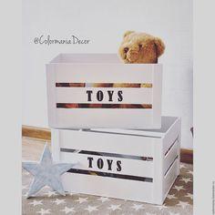 Купить Деревянный ящик для игрушек - белый, ящик, Деревянный ящик, из дерева, хранение, ящик для хранения