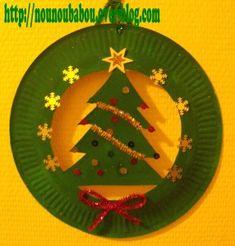 Pour cela il vous faudras. Le sapin: 1 assiette en carton De la peinture verte Des brillants 1 étoile doré 1 chenille doré Le Papa Noël 1 assiette en carton De la peinture rouge et rose Des sujets de noel a coller Du coton La cloche 1 assiette en carton...