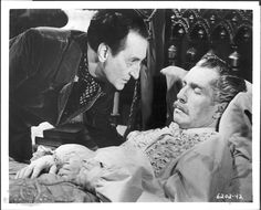 "Tales of Terror (1962): A scene from the third story ""From The Case of M. Valdemar"" featuring Basil Rathbone (Carmichael) and Vincent Price (Ernest Valdemar)."