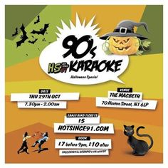 HS91 - '90s Karaoke (Halloween Special) at The Macbeth, 70 Hoxton Street, London, N1 6LP, UK on Oct 29, 2015 to Oct 30, 2015 at 7:00pm to 2:00am, HS91 bring 3 floors of pure chaos to The Macbeth! The ground floor provides an onslaught of 90s Karaoke madness from 9pm til midnight, the middle floor gets transformed into a gaming / chill out room, complete with Super Nintendo,  URL: Tickets: http://atnd.it/35663-0  Category: Nightlife  Price: Early Bird £5