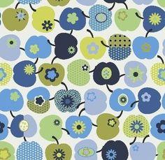 J.Swafing Deko Patchwork Punkte Äpfel Blumen blau Baumwollstoff Wendelin Öko-Tex Standard 100