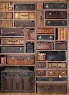 #vintage #suitcase storage #wall  via: https://www.facebook.com/pages/Vintage-Village/343663076805