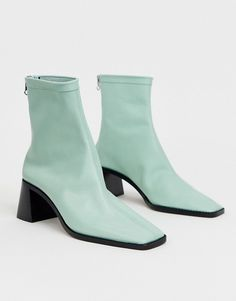 Shop ASOS DESIGN Riverside leather mid heel sock boots in mint green. With a variety of delivery, payment and return options available, shopping with ASOS is easy and secure. Shop with ASOS today. Green Boots, Green Heels, Cute Shoes, Me Too Shoes, Square Toe Boots, Socks And Heels, Designer Boots, Green Leather, Clothing Items