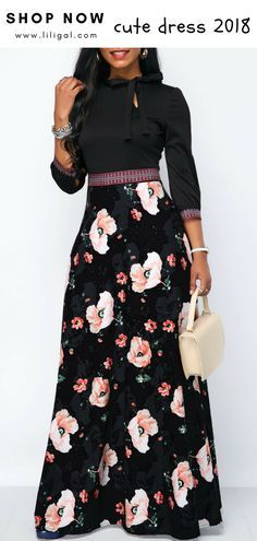 2a1de4edfd0 USD36.32 Flower Print Band Waist Tie Neck Maxi Dress  liligal  dresses