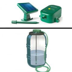 Solar Power Rain Barrel Pump System by The Rain Barrel Company: This solar power pump is the perfect complement to nearly any rain barrel. With this water pump; you will be able to use rain water to run most low pressure sprinklers; wash a car or even power a water nozzle at the end of a hose.