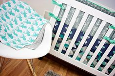 Arrow Deer Triangles Plus Crib Bedding, Baby Bedding, Mint, Turquoise, Teal, Navy Blue, Gray Nursery by modifiedtot on Etsy https://www.etsy.com/listing/199612683/arrow-deer-triangles-plus-crib-bedding