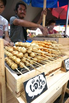 Meat on a stick! Best Thai Street #Food to Eat and Drink at Bangkok's Chatuchak Market #travel