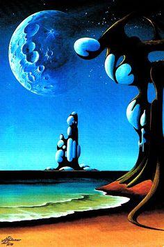 science fiction illustrations from the Sci Fi Kunst, Cyberpunk Kunst, Fantasy Landscape, Landscape Art, Landscape Paintings, Science Fiction Kunst, Cosmos, Sci Fi Wallpaper, Perry Rhodan