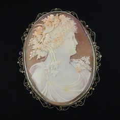 Large Antique Carved Shell Cameo Pendant/Brooch Set In Brass Frame