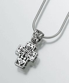 Filigree Cross Cremation Pendant - Store cremation ashes within the pendant and keep a loved one close to your heart.