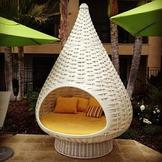 Need one if these pronto. #asap #chair #teardrop #yellow #wicker #weave #couch #sofa #poolside - @instaaasammm
