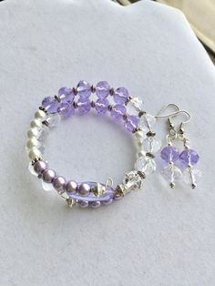 Light Purple and Clear Glass Beaded Memory by RedSilentWolfJewelry