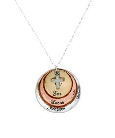 Love this Tri-Tone Divine Gift Personalized Pendant Necklace on #zulily! #zulilyfinds
