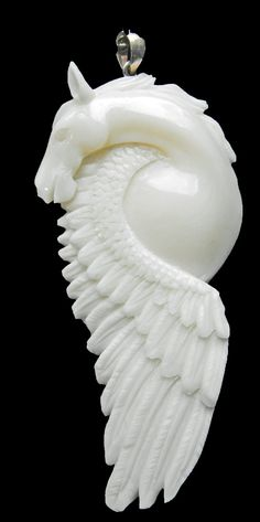 Hand carved bone pendant PEGASUS flying HORSE by DawnHillDesigns, $26.00