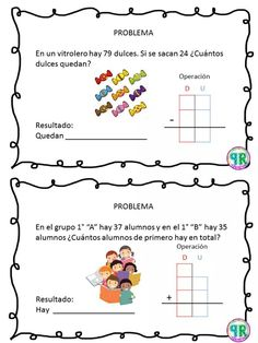 Problemas para I grado | Profe Yano Math 2, Math Class, Primary Education, Kids Education, Elementary Spanish, Maila, Kindergarten Worksheets, Business For Kids, Teaching Math