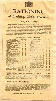 World war II ration chart for clothing. British History, History Facts, World History, Family History, World War Ii, American History, Strange History, Asian History, Tudor History